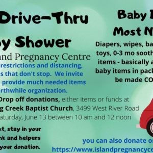 Drive-Thru Baby Shower at Long Creek Church Parking Lot